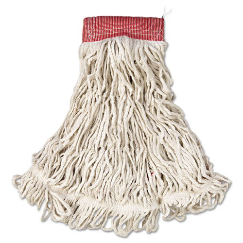 Rubbermaid A153WHI 6-Piece Web Foot Cotton/Synthetic Large Wet Mop Head with 5 in. Red Headband (White)