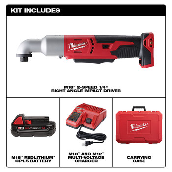 Milwaukee 2667-21CT M18 Lithium-Ion 1/4 in. 2-Speed Right Angle Impact Driver Kit image number 1