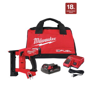 Milwaukee 2749-21CT M18 FUEL Lithium-Ion 18 Gauge 1/4 in. Cordless Narrow Crown Stapler Kit (2 Ah)
