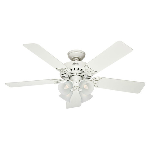 Hunter 53062 52 in. Studio Series White Ceiling Fan with Light