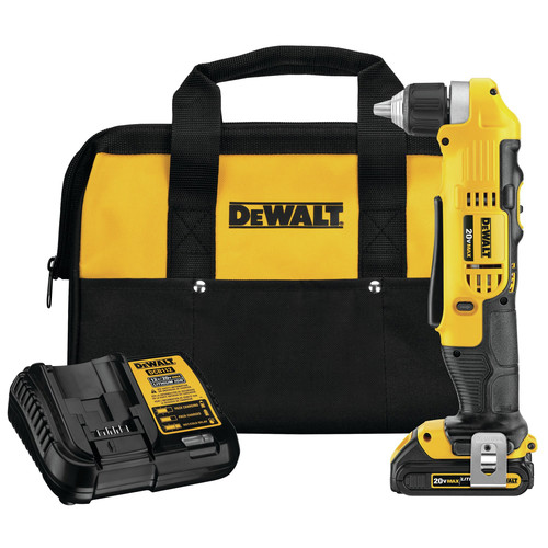 Dewalt DCD740C1 20V MAX Lithium-Ion Compact 3/8 in. Cordless Right Angle Drill Kit (1.5 Ah) image number 0