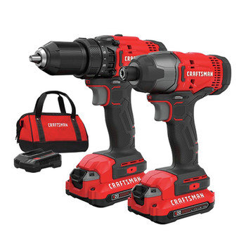 Factory Reconditioned Craftsman CMCK200C2R 20V Variable Speed Lithium-Ion 1/2 in. Cordless Drill Driver /1/4 in. Impact Driver Combo Kit (1.3 Ah)