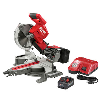 Milwaukee 2734-21 M18 FUEL Lithium-Ion Brushless Dual Bevel Sliding 10 in. Cordless Compound Miter Saw Kit (8 Ah)