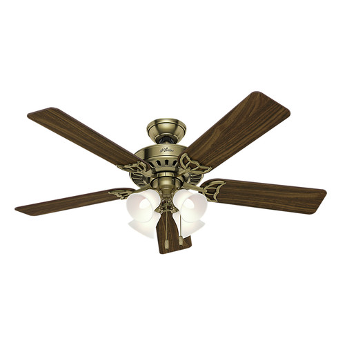 Hunter 53063 52 in. Studio Traditional Antique Brass Walnut Indoor Ceiling Fan with 4 Lights image number 0
