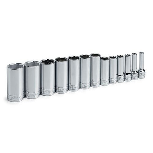SK Hand Tool 4433 13-Piece 3/8 in. Drive 6-Point Deep/Extra Deep SAE Socket Set