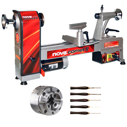 NOVA 46302 Comet II Bench Lathe Package with 48232 Chuck and 9033 Turning Tools image number 0