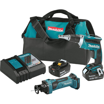 Factory Reconditioned Makita XT255MB-R 18V LXT Brushless Lithium-Ion Cordless Drywall Screwdriver/ Cut-Out Tool Combo Kit (4 Ah)