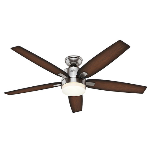Hunter 59039 54 in. Windemere Contemporary Brushed Nickel Burnished Mahogany Indoor Ceiling Fan