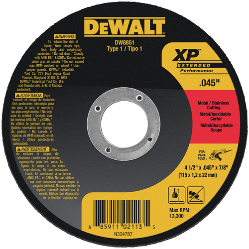 Dewalt DW8851B5 4-1/2 in. x 0.045 in. XP Metal Cutting Wheels (5-Pack) image number 0
