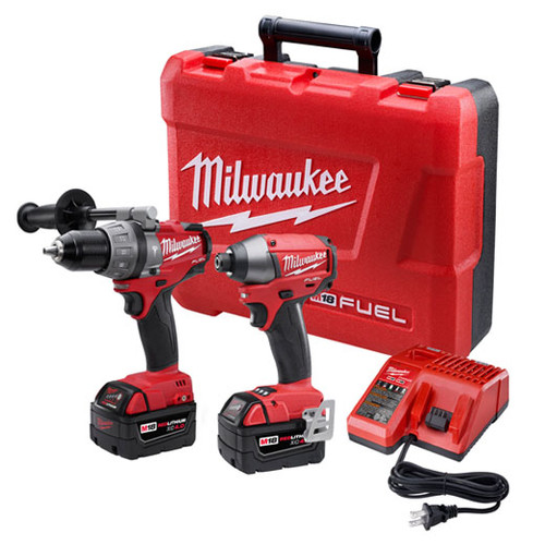 Milwaukee 2797-22 M18 FUEL 18V Cordless Lithium-Ion 1/2 in. Hammer Drill Driver and Impact Driver Combo Kit