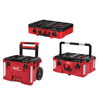 Milwaukee 48-22-8426-8425-8450 PACKOUT 3pc Kit Rolling Tool Box, Large Tool Box, and Tool Case with Foam Insert