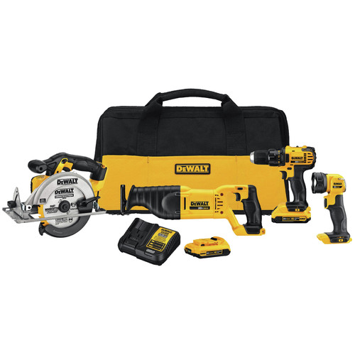 Factory Reconditioned Dewalt DCK423D2R 20V MAX Lithium-Ion Cordless 4-Tool Combo Kit (2 Ah) image number 0