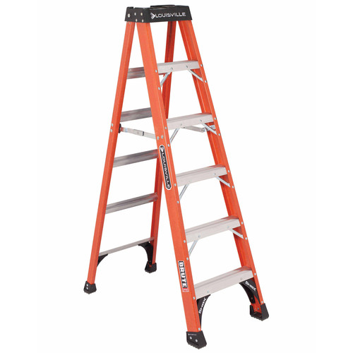 Louisville FS1406HD 6 ft. Type IAA Duty Rating 375 lbs. Load Capacity Fiberglass Step Ladder