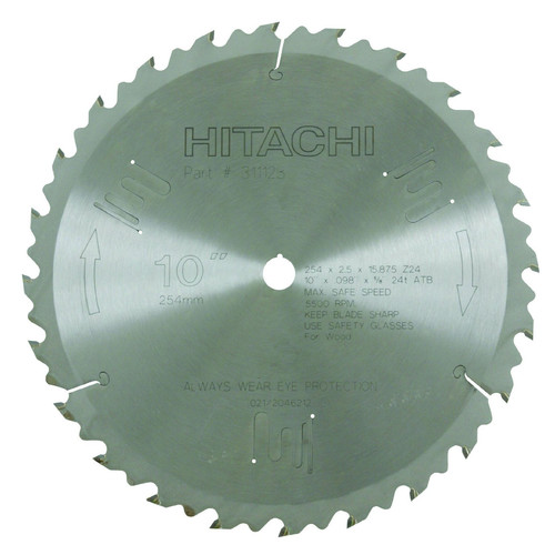 Hitachi 311128 10 in. 24-Tooth Tungsten Carbide ATB Finish Ripping Circular Saw Blade