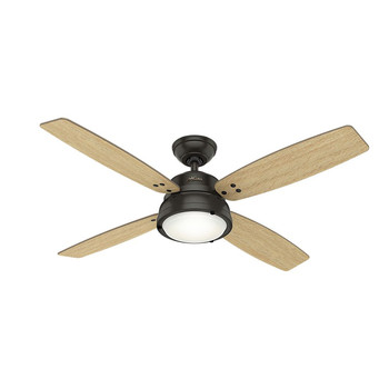 Hunter 59438 52 in. Wingate Noble Bronze Ceiling Fan with Light and Handheld Remote