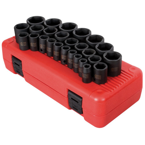 Sunex 2645 26-Piece 1/2 in. Drive Metric Impact Socket Set