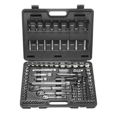ATD 1385 104-Piece 1/4 in., 3/8 in. and 1/2 in. Drive 6-Point SAE/Metric Chrome Socket Set