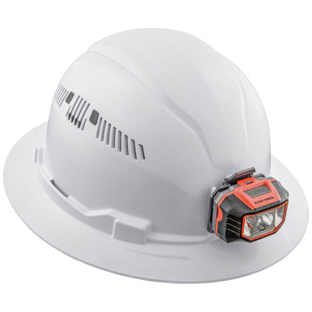 Klein Tools 60407 Vented Full Brim Hard Hat with Cordless Headlamp - White