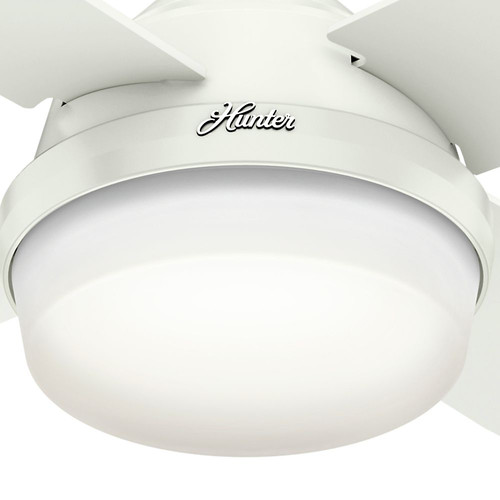 Hunter 59442 60 in. Dempsey with Light Fresh White Ceiling Fan with Light and Handheld Remote image number 5