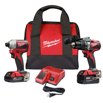 Milwaukee 2893-22CX M18 Brushless Lithium-Ion 1/2 in. Cordless Hammer Drill / 1/4 in. Impact Driver Combo Kit