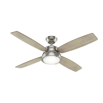 Hunter 59439 52 in. Wingate Brushed Nickel Ceiling Fan with Light and Handheld Remote