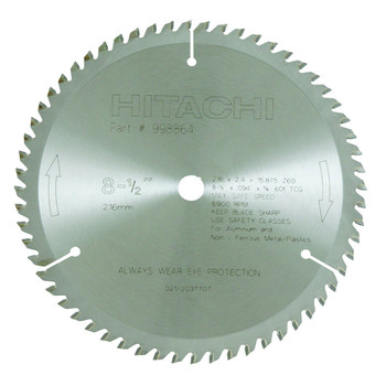 Hitachi 998864 8-1/2 in. 60-Tooth ATC Non-Ferrous Circular Saw Blade image number 0