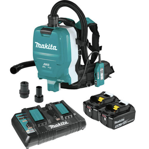 Makita XCV10PTX 18V X2 LXT (36V) Lithium-Ion Brushless 1/2 Gallon Cordless Backpack Dry Dust Extractor Kit with HEPA Filter, AWS Capable (5 Ah) image number 0