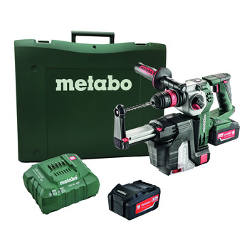 Metabo 600211950 KHA 18 LTX BL 24 Quick 18V 1 in. SDS-Plus Brushless Lithium-Ion Rotary Hammer with HEPA Vacuum Attachment & Batteries image number 0