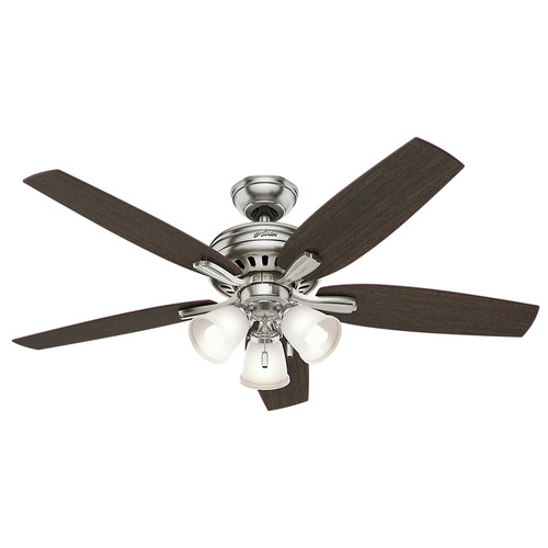Hunter 53318 52 in. Newsome Brushed Nickel Ceiling Fan with Light image number 0