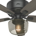 Hunter 53393 52 in. Bennett Matte Black Ceiling Fan with Light and Handheld Remote image number 7