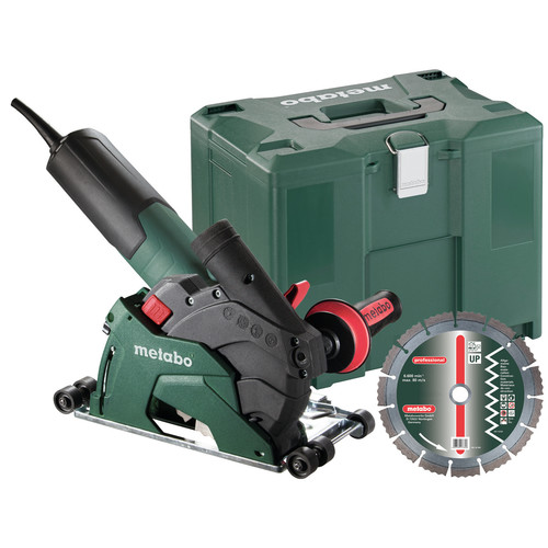 Metabo W12-125 HD Set CED Plus 10.5 Amp 5 in. Masonry Cutting/Scoring Angle Grinder with Guide Rollers