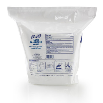 PURELL 9118-02 1200-Piece/Refill Pouch 2 Refills/Carton 6 in. x 8 in. Hand Sanitizing Wipes - White, Fresh Citrus