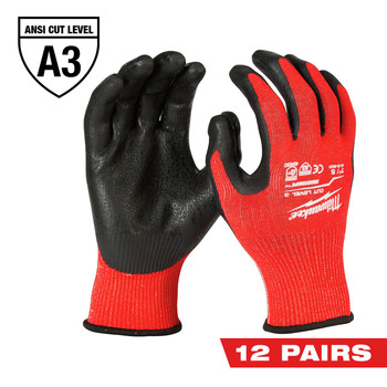Milwaukee 48-22-8932B 12-Pair Cut-Resistant Cut Level 3 Dipped Gloves - Large