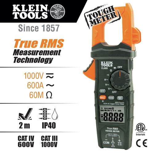 Klein Tools CL600 True RMS Digital AC Auto-Ranging Cordless Clamp Meter Kit image number 0