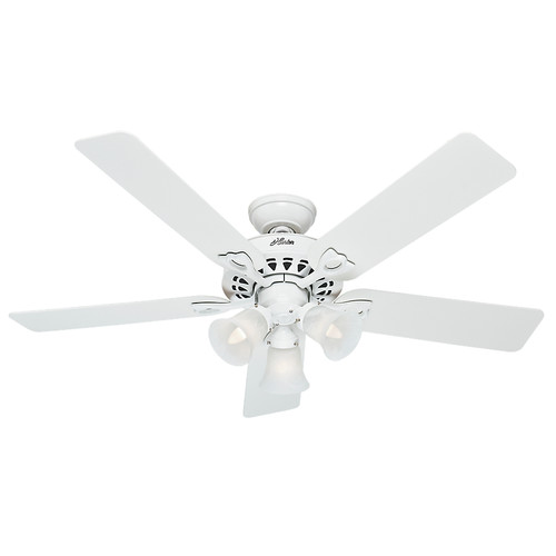Hunter 53114 52 in. Sontera White Ceiling Fan with Light with Handheld Remote