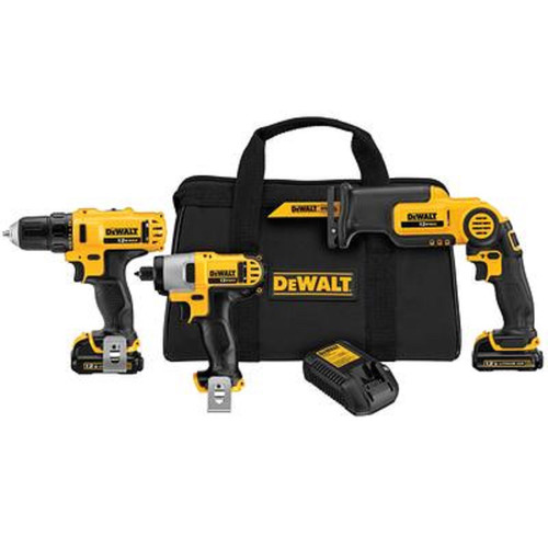 Factory Reconditioned Dewalt DCK313S2R 12V MAX Cordless Lithium-Ion 3-Tool Combo Kit