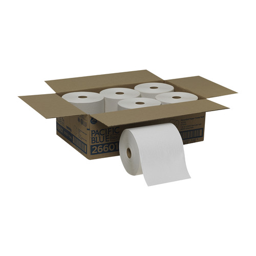 Georgia Pacific Professional 26601 800-Piece/Roll, 6 Rolls/Carton Pacific Blue Basic Recycled 800 ft. x 7.87 in. Hardwound Paper Towel Rolls - White image number 0