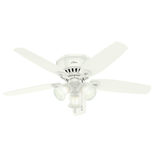 Hunter 53326 52 in. Builder Low Profile Snow White Ceiling Fan with Light