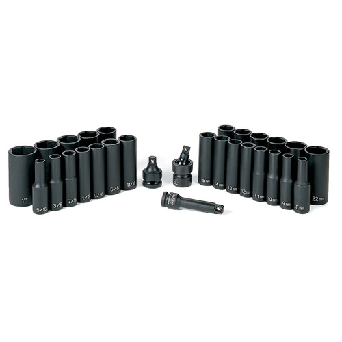 Grey Pneumatic 1229DM 29-Piece 3/8 in. Drive 6-Point SAE and Metric Deep Impact Socket Set