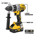 Dewalt DCD998W1 20V MAX XR Brushless Lithium-Ion 1/2 in. Cordless Hammer Drill Driver with POWER DETECT Tool Technology Kit (8 Ah) image number 7