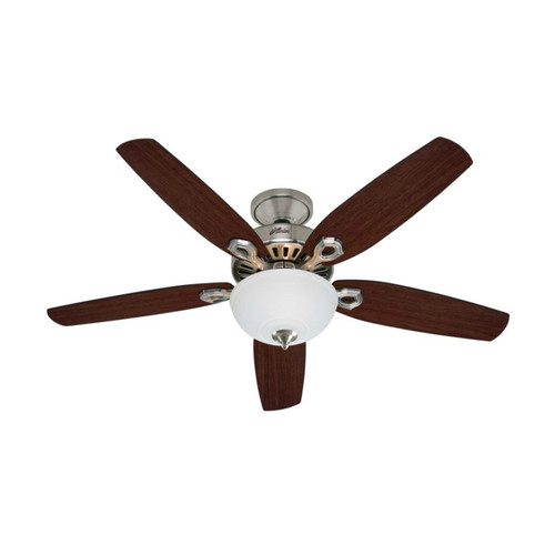 Hunter 53090 52 in. Builder Deluxe Brushed Nickel Ceiling Fan with Light