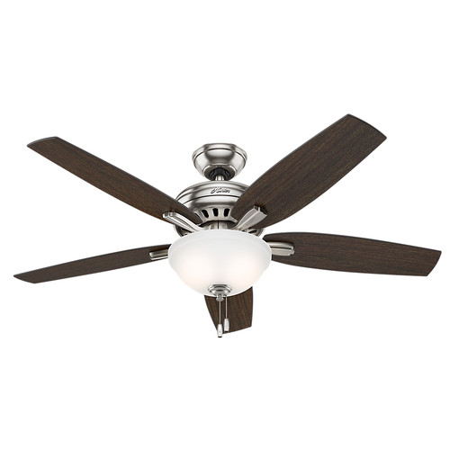 Hunter 53312 52 in. Newsome Brushed Nickel Ceiling Fan with Light