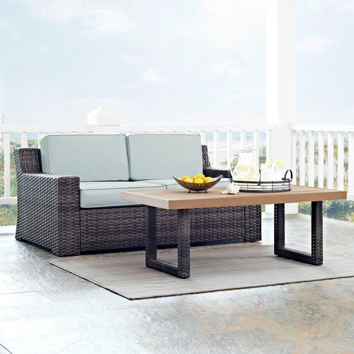 Crosley Furniture KO70097BR Beaufort 2-Piece Rattan Wicker Outdoor Seating Set (Brown/Mist)