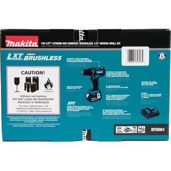 Makita XFD061 18V LXT Lithium-Ion Brushless Compact 1/2 in. Cordless Drill Driver Kit (3 Ah) image number 7