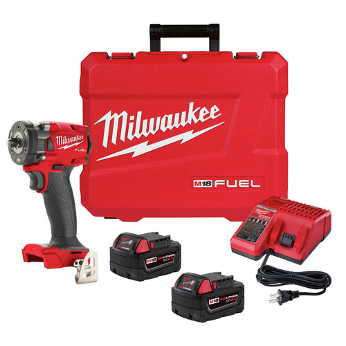 Milwaukee 2854-22 M18 FUEL Lithium-Ion Brushless Compact 3/8 in. Cordless Impact Wrench Kit with Friction Ring (5 Ah) image number 0