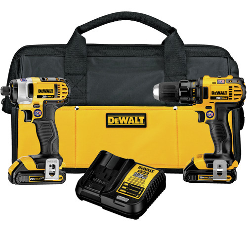 Dewalt DCK280C2 20V MAX 1.5 Ah Cordless Lithium-Ion 1/2 in. Compact Drill Driver and Impact Driver Combo Kit image number 0
