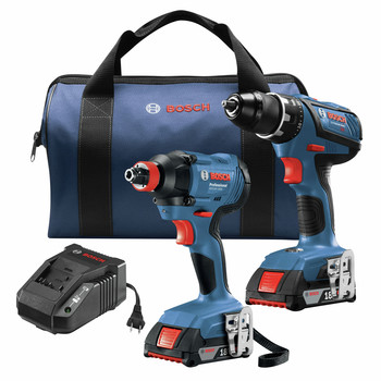 Factory Reconditioned Bosch GXL18V-232B22-RT 18V Compact Tough Lithium-Ion 1/2 in. Cordless Drill Driver / 1/4 in. and 1/2 in. 2-in-1 Bit/Socket Cordless Impact Driver Combo Kit (2 Ah)