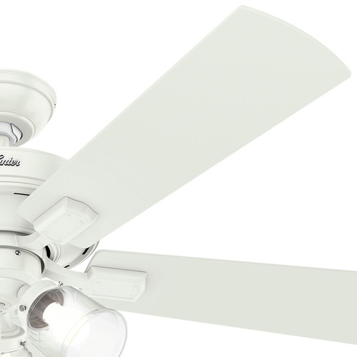Hunter 54204 52 in. Crestfield Fresh White Ceiling Fan with Light image number 4