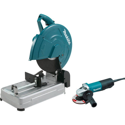Makita LW1400X2 14 in. Cut-Off Saw with Tool-Less Wheel Change and 4-1/2 in. Paddle Switch Angle Grinder Combo Kit