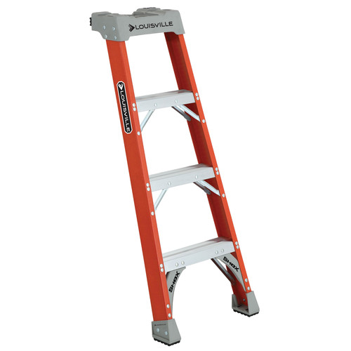 Louisville FH1504 4 ft. Type IA Duty Rating 300 lbs. Load Capacity Fiberglass Shelf Step Ladder